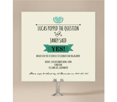Vintage Banner Engagement Invitations