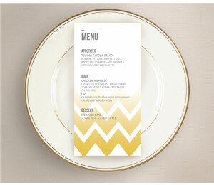 Fading Chevron Wedding Menu