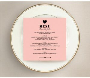Photo Heart Wedding Menu