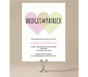 Two Hearts Engagement Invitations