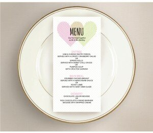 Two Hearts Wedding Menu