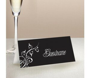 Black and White Wedding Place Card