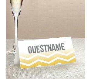 Fading Chevron Wedding Place Card
