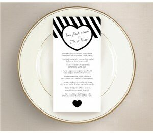 Bold Stripes Wedding Menu