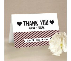 Cute Stripe Thank You Card