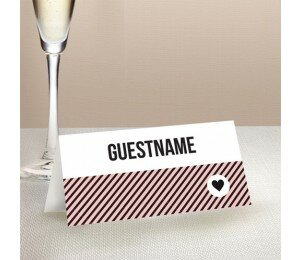 Cute Stripe Wedding Place Card