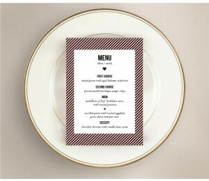 Cute Stripe Wedding Menu