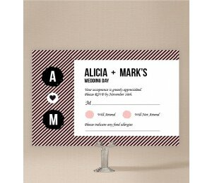 Cute Stripe Wedding Response Card