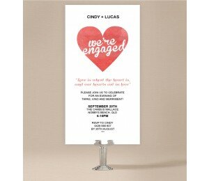 Cutout Heart Engagement Invitations