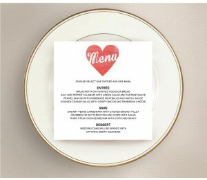 Cutout Heart Wedding Menu