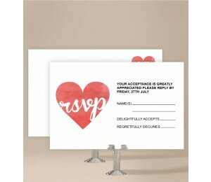 Cutout Heart Wedding Response Card