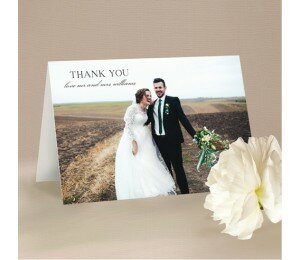Deco Fans Wedding Thank You Card