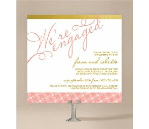 Golden Lattice Engagement Invitations