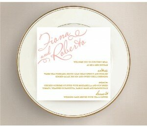 Golden Lattice Wedding Menu