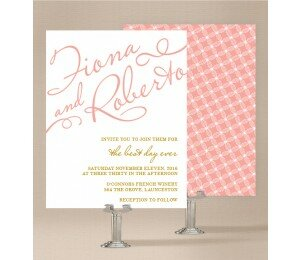 Golden Lattice Wedding Invitations