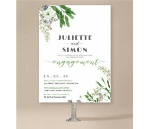 Gum Leaves Engagement Invitations