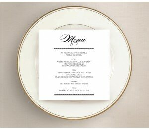 Monochrome Types Wedding Menu