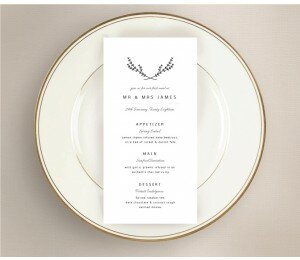 Simple Beauty Wedding Menu