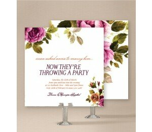 Vintage Floral Engagement Invitations