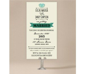 Vintage Banner Wedding Invitations