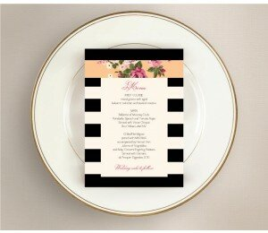Vintage Stripe Wedding Menu