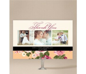 Vintage Stripe Wedding Thank You Card