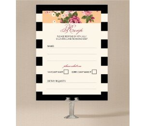Vintage Stripe Wedding Response Card