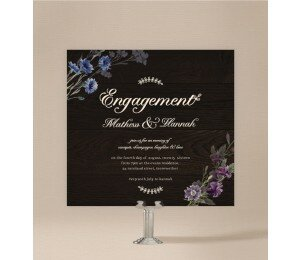 Wood and Flowers Engagement Invitations