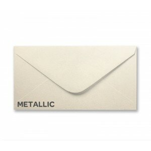 Curious Metallic White Gold DL Envelope
